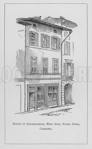 House of Stradiuarius, West Side, Piazza Roma, Cremona. Illustration for The Violin: Its Famous Makers and Their Imitators by George Hart (Dulau, 1880).