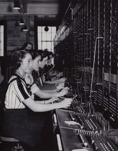 Girls operate the switchboard in the Control Room. Illustration for The Women of England by Margaret Biddle (Houghton Mifflin, 1941).