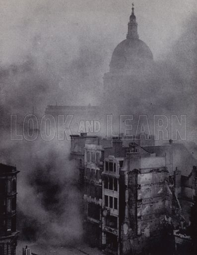 The 'City' is blitzed but the dome of St Paul's rises above the smoke and flames. Illustration for The Women of England by Margaret Biddle (Houghton Mifflin, 1941).