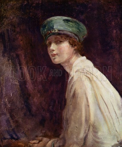 """""""The Green Hat,"""" Mrs Claude Johnson, 1918. Illustration for The Work of Ambrose McEvoy (Colour, 1923)."""