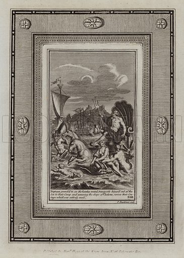 Neptune provok'd to see the Greeks routed, transports himself out of the Sea to their Camp and assuming the shape of Chalcas, revives their Courage which was entirely sunk. The Iliad. Illustration for The Works of Homer edited by William Henry Melmoth (Alex Hogg, c 1780).