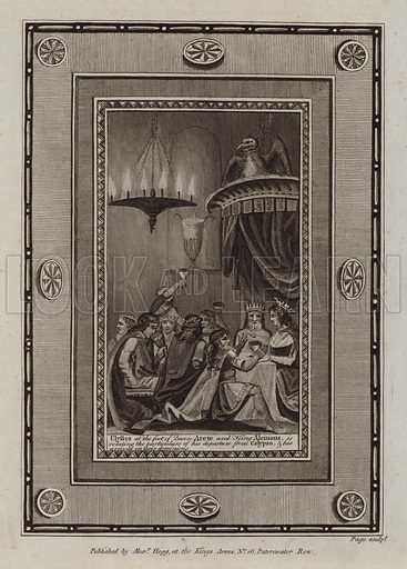 Ulysses at the feet of Queen Arete and King Alcinous, is relating the particulars of his departure from Calypso, and his arrival on their dominions. The Odyssey. Illustration for The Works of Homer edited by William Henry Melmoth (Alex Hogg, c 1780).