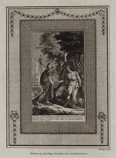 Ulysses, King of Ithaca, on his return after an absence of twenty Years, having been left asleep on his own Coast, Minerva appears to him in the shape of a Young Shepherd, and gives him advice. The Odyssey. Illustration for The Works of Homer edited by William Henry Melmoth (Alex Hogg, c 1780).
