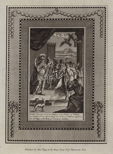 Jupiter having sent two Eagles to the Palace of Ulysses, an Augur in an assembly of the Lords of Ithaca, explains the Prodigy to the Ruin of Penelope's Suitors. The Odyssey. Illustration for The Works of Homer edited by William Henry Melmoth (Alex Hogg, c 1780).