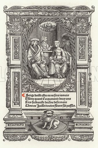 July. Illustration for A Calendar for the Year 1923 containing twelve plates representing the twelve ages of man which appeared in a book of hours printed by Thielman Kerver in Paris in 1522.  They were reprinted by his widow, Yolande Bonhomme, from which edition the woodcuts have been reproduced (Linotype, 1922).