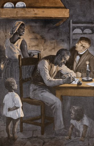 Illustration for a German edition of Uncle Tom's Cabin by Harriet Beecher Stowe.