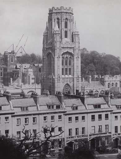 The Memorial Tower, from Berkeley Square. Illustration for University of Bristol 1925 (J W Arrowsmith, 1925).  Photographs are credited to F Beech Williams and F Bromhead (1).