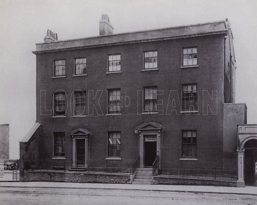Premises in Park Row, temporarily occupied by the University College on its foundation in 1876. From an early photograph. Illustration for University of Bristol 1925 (J W Arrowsmith, 1925).  Photographs are credited to F Beech Williams and F Bromhead (1).