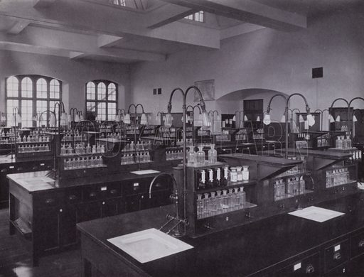 One of the Chemical Laboratories. Illustration for University of Bristol 1925 (J W Arrowsmith, 1925).  Photographs are credited to F Beech Williams and F Bromhead (1).
