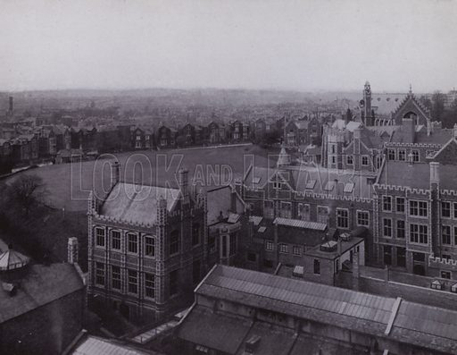 General View of the Buildings of the Faculty of Medicine, seen from the back of the Memorial Tower. Illustration for University of Bristol 1925 (J W Arrowsmith, 1925).  Photographs are credited to F Beech Williams and F Bromhead (1).