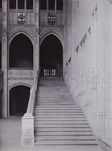 One of the two Flights of Stairs in the Great Entrance Hall. Illustration for University of Bristol 1925 (J W Arrowsmith, 1925).  Photographs are credited to F Beech Williams and F Bromhead (1).