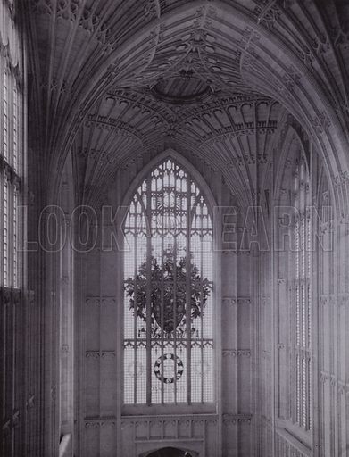 The Fan Vault of the Entrance Hall, and the Founder's Window. Illustration for University of Bristol 1925 (J W Arrowsmith, 1925).  Photographs are credited to F Beech Williams and F Bromhead (1).
