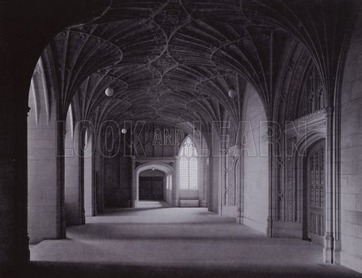Vaulted Vestibule, showing Entrance Door of Great Hall. Illustration for University of Bristol 1925 (J W Arrowsmith, 1925).  Photographs are credited to F Beech Williams and F Bromhead (1).
