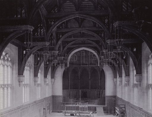 The Hammer-beam Oak Roof and the Apse of the Great Hall. Showing the Screen and the Organ Recess unfinished. Illustration for University of Bristol 1925 (J W Arrowsmith, 1925).  Photographs are credited to F Beech Williams and F Bromhead (1).