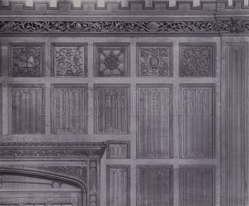Detail of the Oak Panelling in the Great Hall. Illustration for University of Bristol 1925 (J W Arrowsmith, 1925).  Photographs are credited to F Beech Williams and F Bromhead (1).