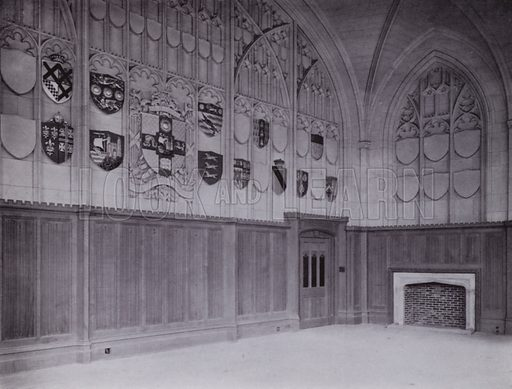 The New Council Chamber. Illustration for University of Bristol 1925 (J W Arrowsmith, 1925).  Photographs are credited to F Beech Williams and F Bromhead (1).