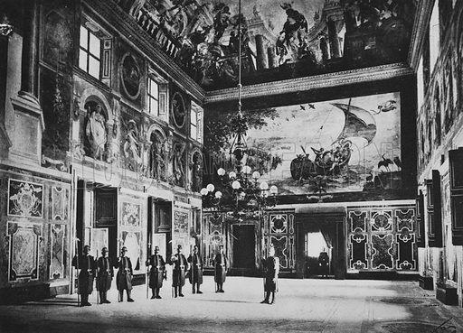 Vaticano, Sala Clementina. Illustration for Ricordo di Roma (np, c 1910).  Gravure printed.