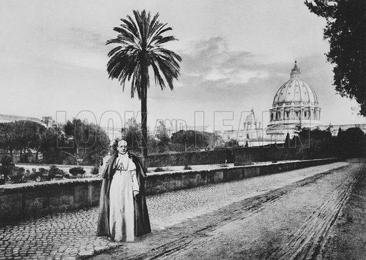 I giardini del Vaticano, Sua Santita al Passeggio. Illustration for Ricordo di Roma (np, c 1910).  Gravure printed.