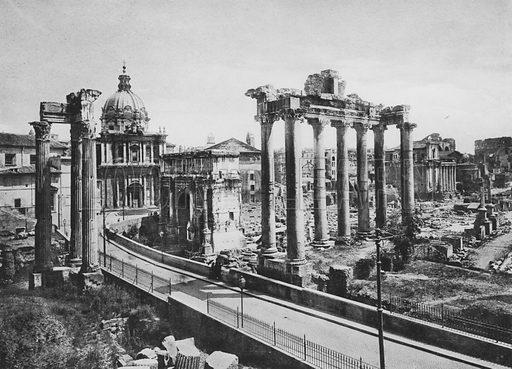 Foro Romano visto dal Campidoglio, Tempio di Saturno. Illustration for Ricordo di Roma (np, c 1910).  Gravure printed.