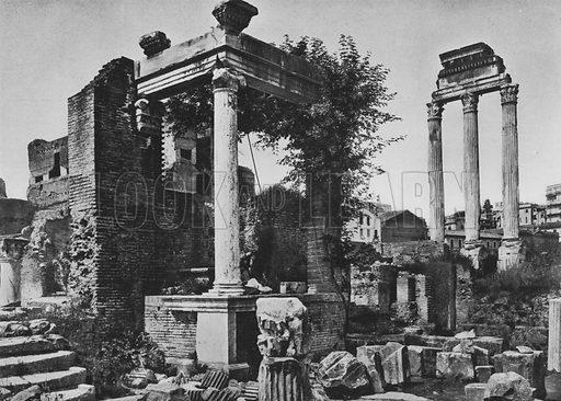 Foro Romano, Edicola delle Vestali e Tempio di Castore e Polluce. Illustration for Ricordo di Roma (np, c 1910).  Gravure printed.