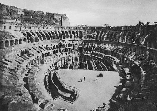 Il Colosseo, Interno. Illustration for Ricordo di Roma (np, c 1910).  Gravure printed.