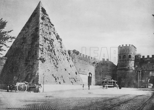 Porta Paola e Piramide di C Cestio. Illustration for Ricordo di Roma (np, c 1910).  Gravure printed.
