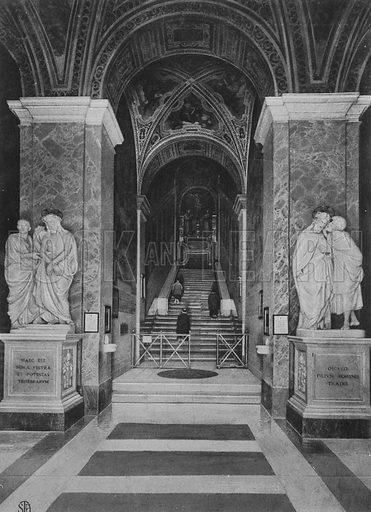 Scala Santa e antica Cappella Papale. Illustration for Ricordo di Roma (np, c 1910).  Gravure printed.