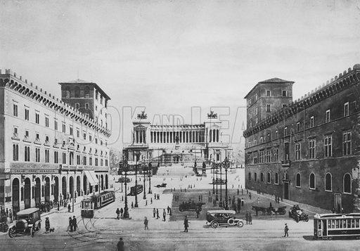 Piazza Venezia col Monumento a Vittorio Emanuele II. Illustration for Ricordo di Roma (np, c 1910).  Gravure printed.