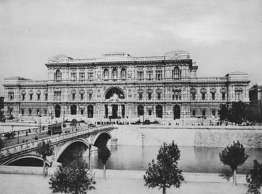 Il nuovo Palazzo di Giustizia, Facciata principale. Illustration for Ricordo di Roma (np, c 1910).  Gravure printed.