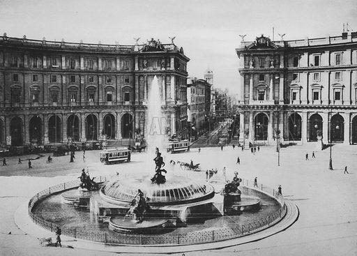 Via Nazionale e Piazza Termini con la Fontana delle Naiadi. Illustration for Ricordo di Roma (np, c 1910).  Gravure printed.
