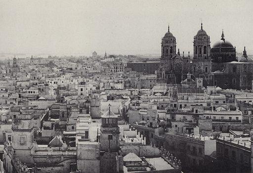 Vista Desde la Torre de Tavira. Illustration for souvenir booklet of Cadiz (Hauser y Menet, c 1900).  Gravure printed.