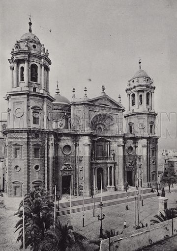 La Catedral. Illustration for souvenir booklet of Cadiz (Hauser y Menet, c 1900).  Gravure printed.
