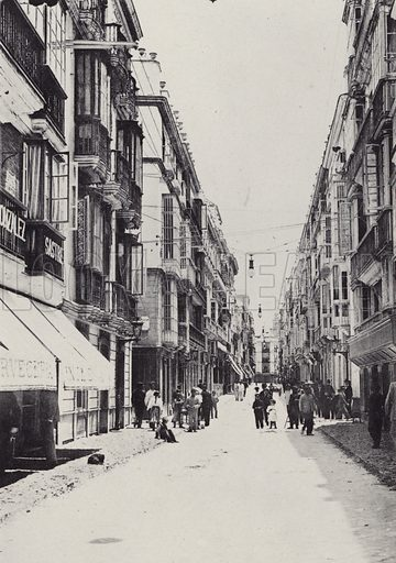Calle Ancha. Illustration for souvenir booklet of Cadiz (Hauser y Menet, c 1900).  Gravure printed.