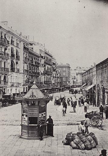 Calle de Issac Peral. Illustration for souvenir booklet of Cadiz (Hauser y Menet, c 1900).  Gravure printed.