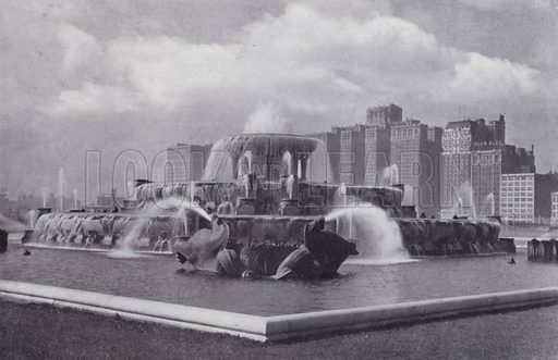 Buckingham Fountain, Grant Park. Illustration for Chicago, The Wonder City (2nd edn, Horder, 1930).  At the back of the book, credit for the photographs is given to: Chicago Aerial Survey Co, Chicago Architectural Photographing Co, Kaufmann & Fabry Co.