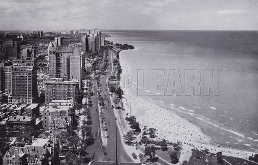 Sheridan Road and Oak Street Beach, Looking North from Drake Hotel. Illustration for Chicago, The Wonder City (2nd edn, Horder, 1930).  At the back of the book, credit for the photographs is given to: Chicago Aerial Survey Co, Chicago Architectural Photographing Co, Kaufmann & Fabry Co.