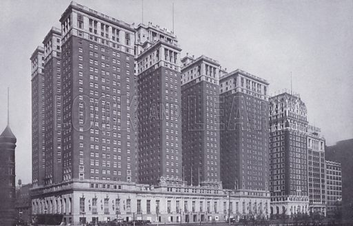 The Stevens Hotel, with Blackstone Hotel at Right. Illustration for Chicago, The Wonder City (2nd edn, Horder, 1930).  At the back of the book, credit for the photographs is given to: Chicago Aerial Survey Co, Chicago Architectural Photographing Co, Kaufmann & Fabry Co.