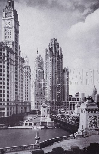 Boulevard Link Bridge, Looking North. Illustration for Chicago, The Wonder City (2nd edn, Horder, 1930).  At the back of the book, credit for the photographs is given to: Chicago Aerial Survey Co, Chicago Architectural Photographing Co, Kaufmann & Fabry Co.
