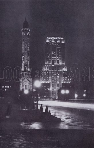 The Historic Water Works and the Palmolive Building at Night. Illustration for Chicago, The Wonder City (2nd edn, Horder, 1930).  At the back of the book, credit for the photographs is given to: Chicago Aerial Survey Co, Chicago Architectural Photographing Co, Kaufmann & Fabry Co.