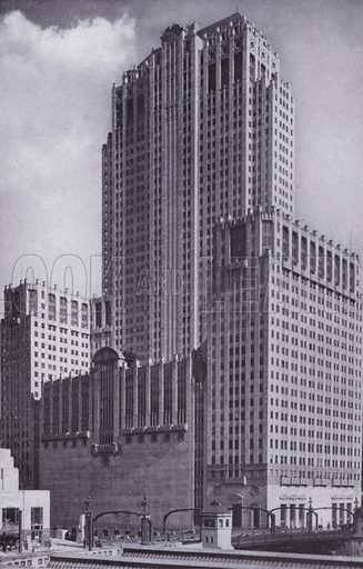 The Civic Opera House. Illustration for Chicago, The Wonder City (2nd edn, Horder, 1930).  At the back of the book, credit for the photographs is given to: Chicago Aerial Survey Co, Chicago Architectural Photographing Co, Kaufmann & Fabry Co.