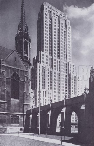 The Palmolive Building, from Fourth Presbyterian Church. Illustration for Chicago, The Wonder City (2nd edn, Horder, 1930).  At the back of the book, credit for the photographs is given to: Chicago Aerial Survey Co, Chicago Architectural Photographing Co, Kaufmann & Fabry Co.