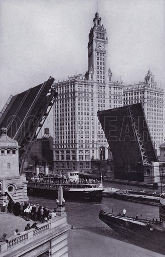 Boulevard Link Bridge and Wrigley Building. Illustration for Chicago, The Wonder City (2nd edn, Horder, 1930).  At the back of the book, credit for the photographs is given to: Chicago Aerial Survey Co, Chicago Architectural Photographing Co, Kaufmann & Fabry Co.