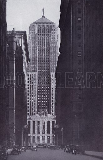 The Board of Trade Building, at the Head of La Salle Street. Illustration for Chicago, The Wonder City (2nd edn, Horder, 1930).  At the back of the book, credit for the photographs is given to: Chicago Aerial Survey Co, Chicago Architectural Photographing Co, Kaufmann & Fabry Co.