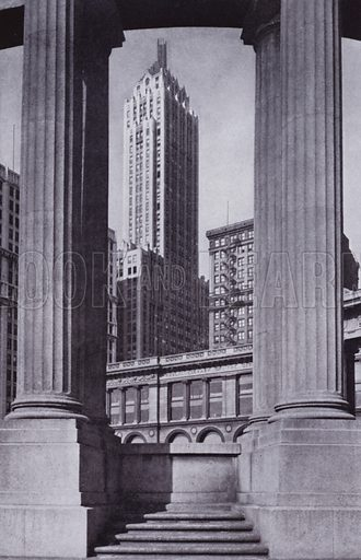 The Pittsfield Building and the Public Library through the Peristyle. Illustration for Chicago, The Wonder City (2nd edn, Horder, 1930).  At the back of the book, credit for the photographs is given to: Chicago Aerial Survey Co, Chicago Architectural Photographing Co, Kaufmann & Fabry Co.