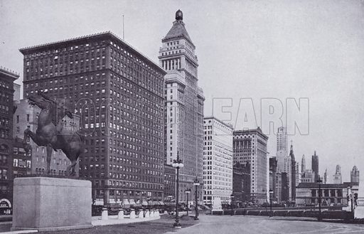 Michigan Boulevard, Looking North from Van Buren Street. Illustration for Chicago, The Wonder City (2nd edn, Horder, 1930).  At the back of the book, credit for the photographs is given to: Chicago Aerial Survey Co, Chicago Architectural Photographing Co, Kaufmann & Fabry Co.