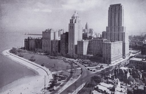 Sheridan Road at Lake Shore Drive. Illustration for Chicago, The Wonder City (2nd edn, Horder, 1930).  At the back of the book, credit for the photographs is given to: Chicago Aerial Survey Co, Chicago Architectural Photographing Co, Kaufmann & Fabry Co.