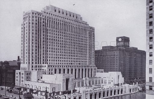The Chicago Daily News Building and Plaza. Illustration for Chicago, The Wonder City (2nd edn, Horder, 1930).  At the back of the book, credit for the photographs is given to: Chicago Aerial Survey Co, Chicago Architectural Photographing Co, Kaufmann & Fabry Co.