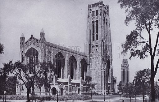 Rockefeller Chapel, University of Chicago. Illustration for Chicago, The Wonder City (2nd edn, Horder, 1930).  At the back of the book, credit for the photographs is given to: Chicago Aerial Survey Co, Chicago Architectural Photographing Co, Kaufmann & Fabry Co.