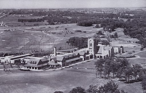 Olympia Fields Golf Club from the Air. Illustration for Chicago, The Wonder City (2nd edn, Horder, 1930).  At the back of the book, credit for the photographs is given to: Chicago Aerial Survey Co, Chicago Architectural Photographing Co, Kaufmann & Fabry Co.