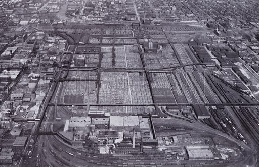 The Chicago Stock Yards from the Air. Illustration for Chicago, The Wonder City (2nd edn, Horder, 1930).  At the back of the book, credit for the photographs is given to: Chicago Aerial Survey Co, Chicago Architectural Photographing Co, Kaufmann & Fabry Co.